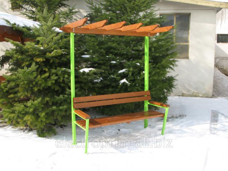 Купить Скамейка с навесом Садово-парковая мебель Беседки с тентом