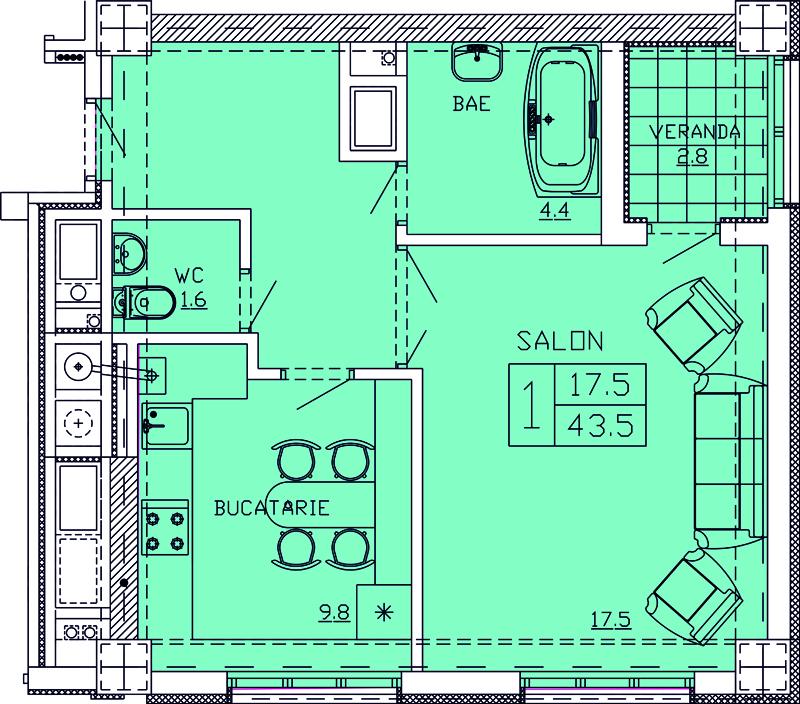 Купить Новострой в Кишиневе Квартиры 1- комнатные Apartament 6