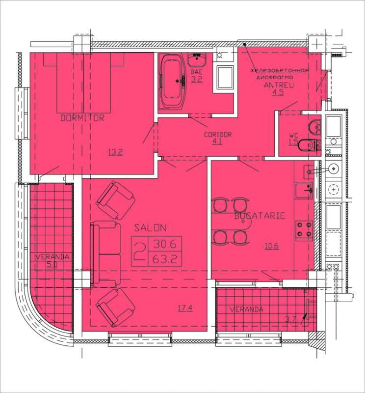 Купить Квартиры 2-х комнатные Apartament 7