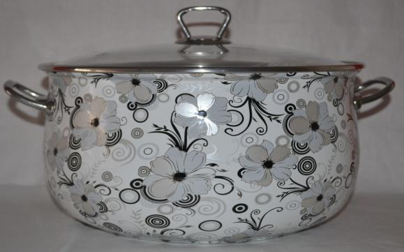 Buy The enameled pan with a glass cover and metal Nr handles. 1279