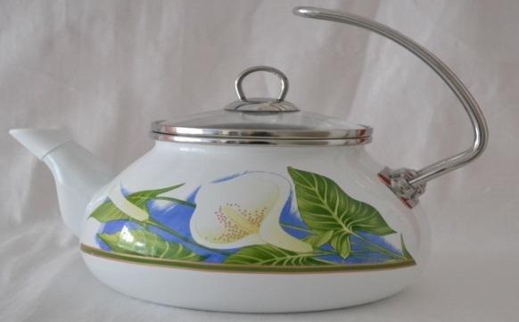 Купить Эмалированный чайник со стеклянной крышкой