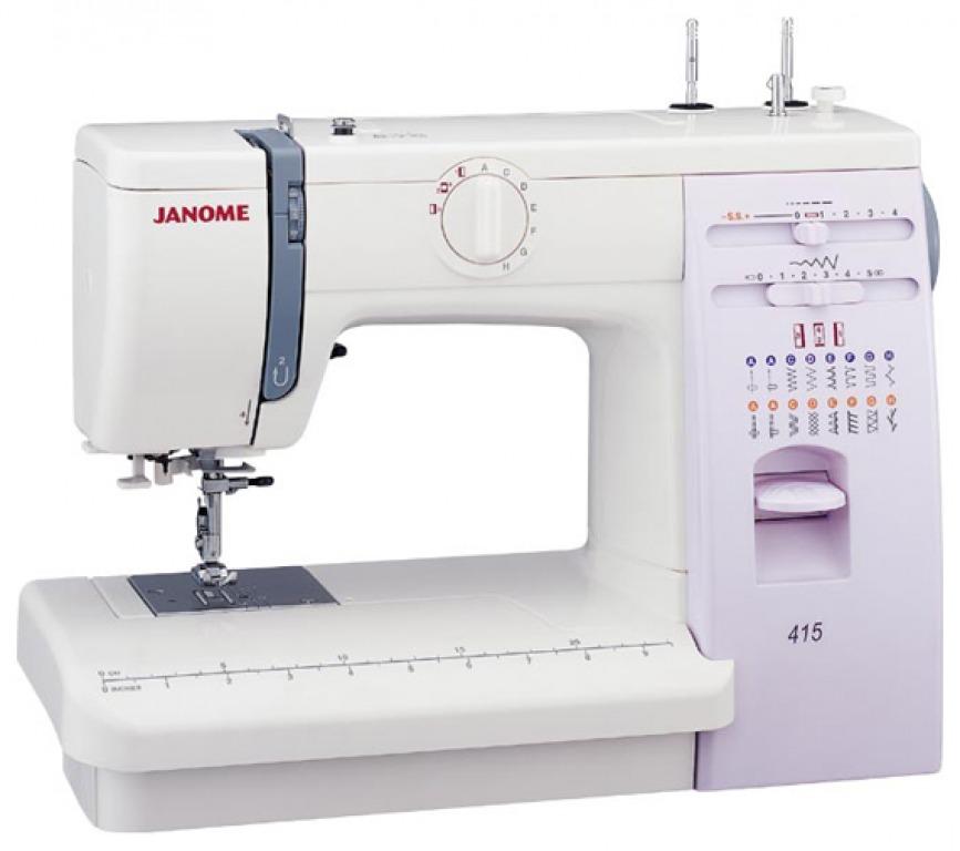 Купить Машины бытовые швейные Швейная машина JANOME 415 (15 строчек, нитевдеватель, регуляторы длины и ширины стежка, жесткий чехол)