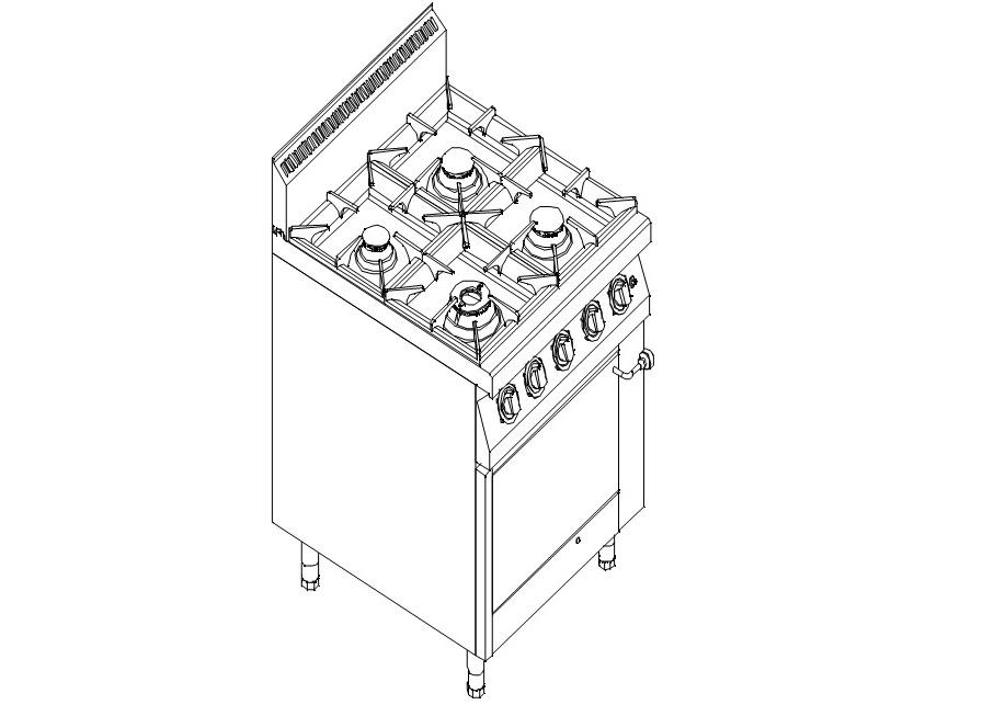 Купить Плита газовая 4-х конфорочная Kogast с газовой духовкой на GN 2/1 PS-T49/1
