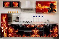 Купить Кухня с фотофасадом (огонь)