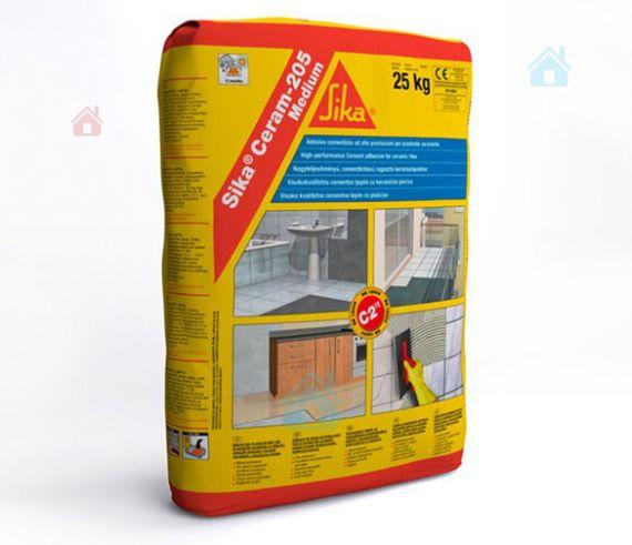 Купить Клей эластичный для плитки на цементной основе класса C2 TE Sika Ceram-205 Medium