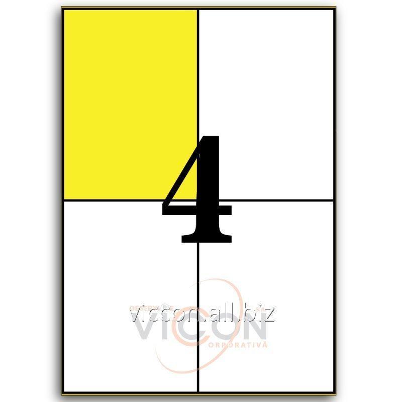 Купить Этикетки самоклеящиеся белые, 4 на листе. Размеры: 105 x 148 mm