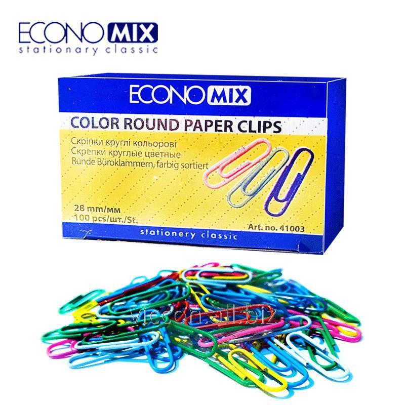 Купить Скрепки, 28 мм, круглые, цветные, ECONOMIX