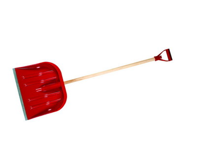 Shovel for snow of red plastic 480*400 mm with the wooden handle a code 60001