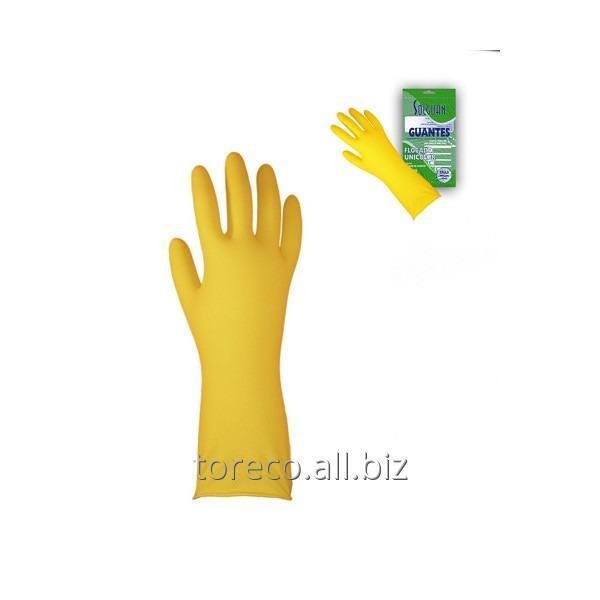 Купить Перчатки латексные хозяйственные, Medium, Solguan Код: 03238