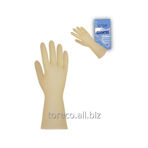Купить Перчатки латексные хозяйственные, Natural, Medium, Solguan Код: 03245