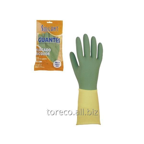 Купить Перчатки латексные хозяйственные, Bicolor, Medium, Solguan Код: 03242