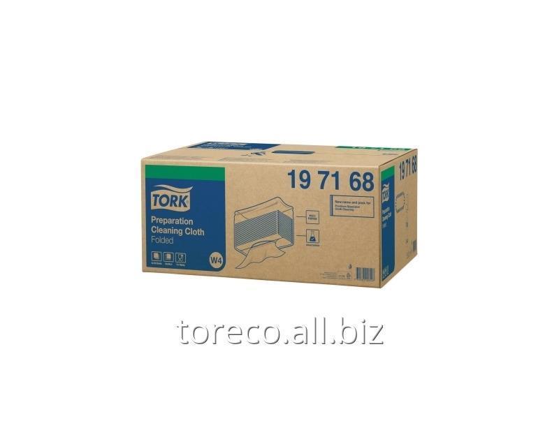 Купить Нетканый материал для предварительной очистки в салфетках Tork W4, 75г/м2, 38.5х42.8, 150/5, Белый, Premium Код: 197168