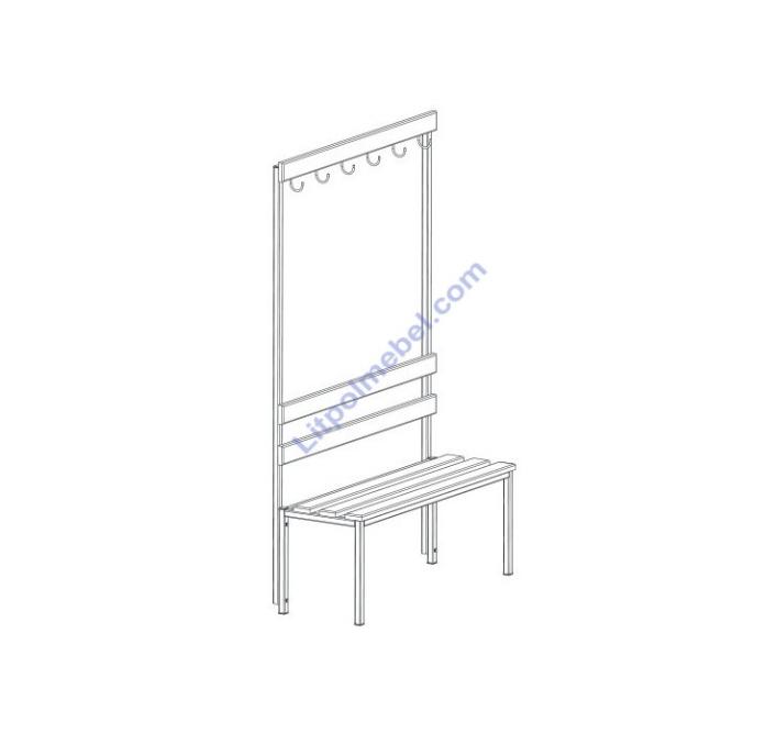 Скамья гардеробная с вешалкой односторонняя LO 201
