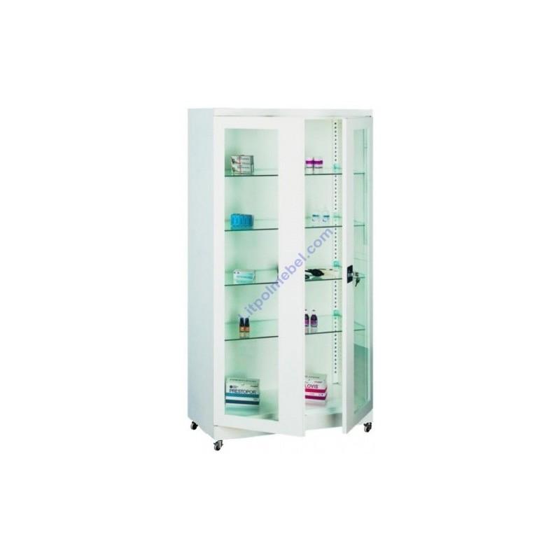 Купить Металлический шкаф медицинский с стеклянными полками Sml 113