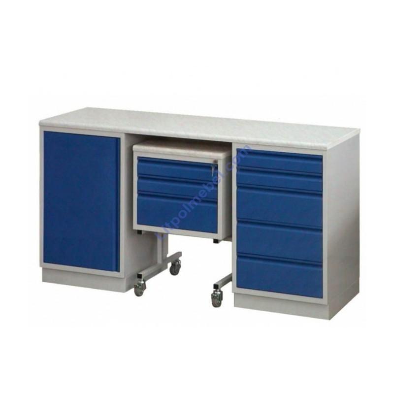 Купить Лабораторный металлический двухтумбовый стол с кислотоустойчивой столешницей Szl 300