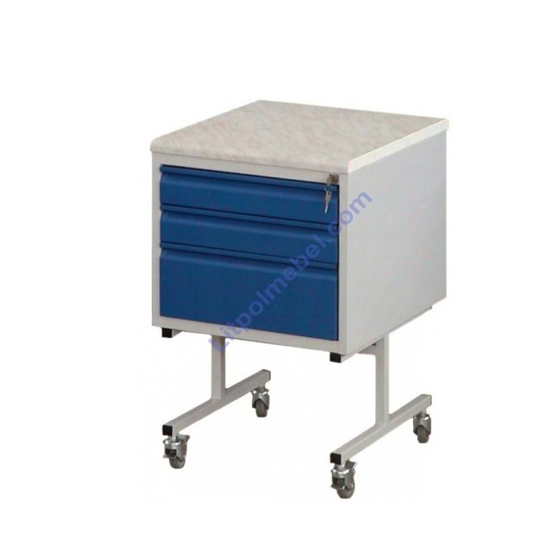 Передвижной мобильный металлический шкафчик с кислотоустойчивой столешницей Szl 303