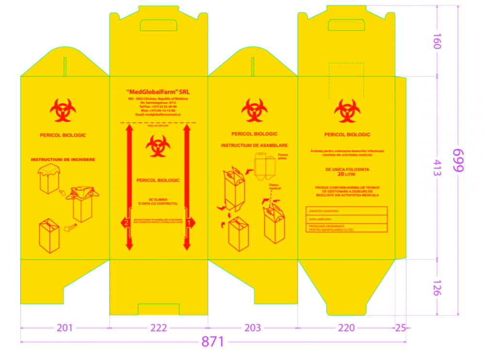 Boxes made of cardboard yellow for the collection of medical waste