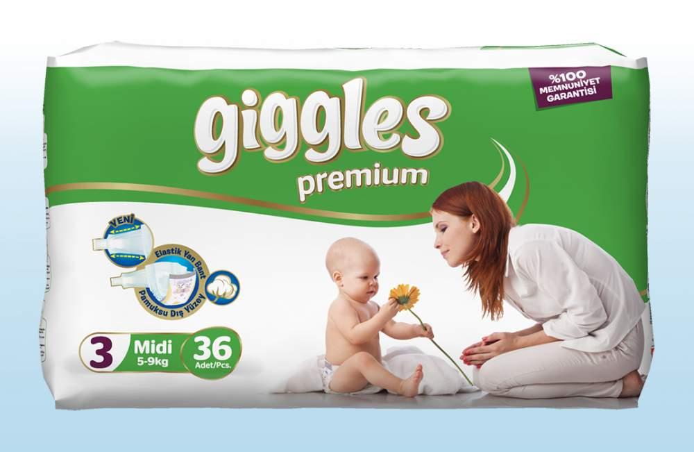 Подгузники Giggles премия Миди 5-9 Кг 36 Штук