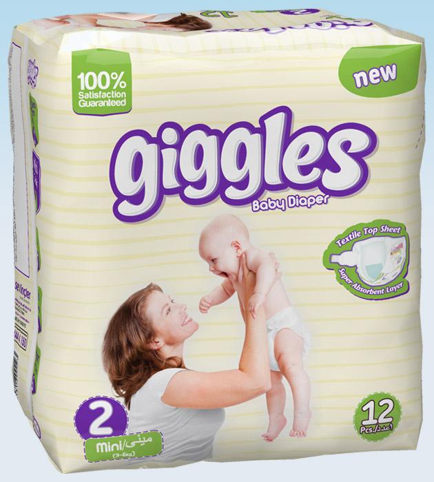 Подгузники Giggles стандартная упаковка Мини 3-6 Кг 12 число