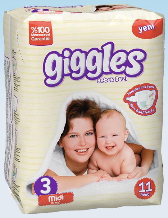 Подгузники Giggles стандартная упаковка Миди 5-9 Кг 11 число