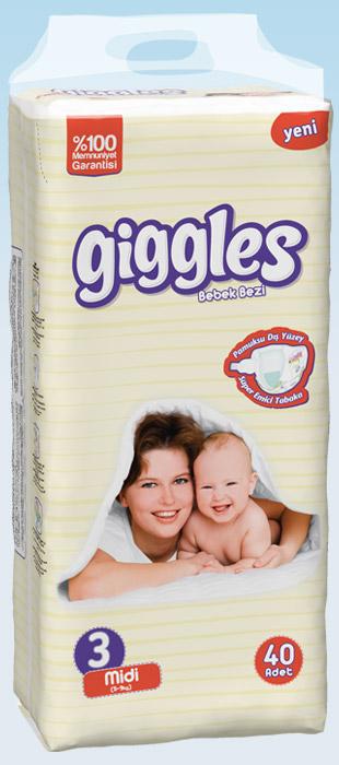 Подгузники GigglesTwin упаковка Миди 5-9 Кг 40 число