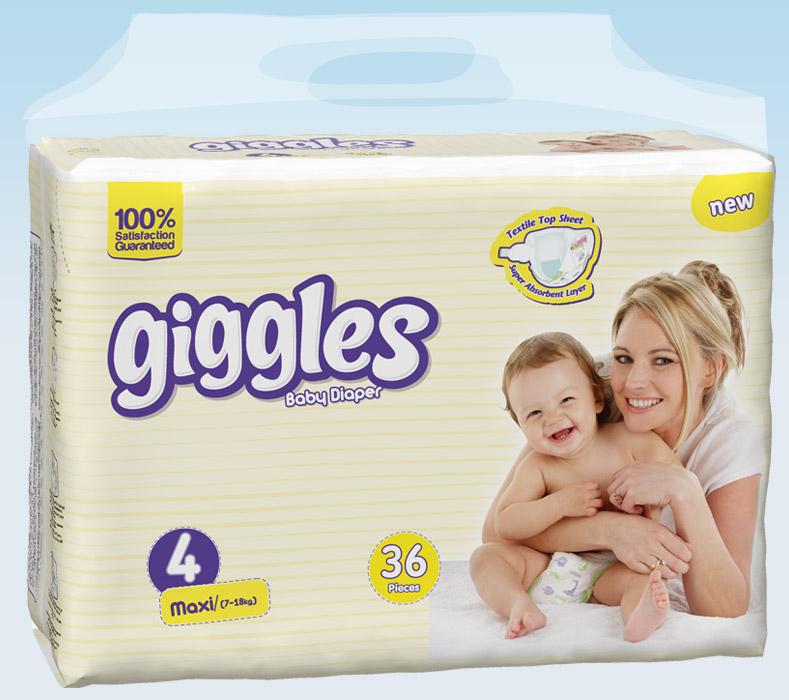 Подгузники Giggles Twin упаковка Макси 7-18 Кг 36 число