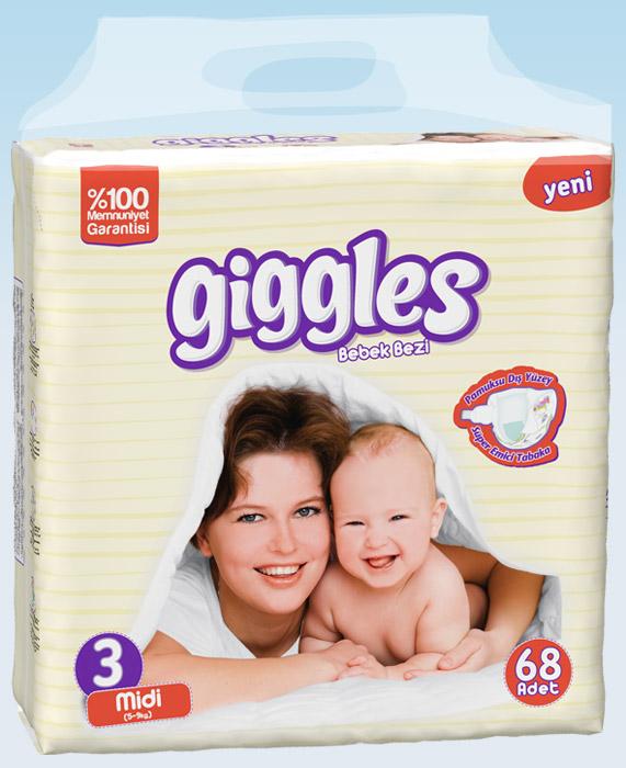 Подгузники Giggles Jumbo упаковка Миди 5-9 Кг 68 число