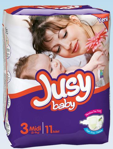 Подгузники Jusy Standart упаковка Миди 5-9 Кг 11 Штук