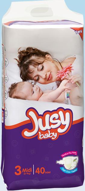 Подгузники Jusy Twin упаковка Миди 5-9 Кг 40 Штук