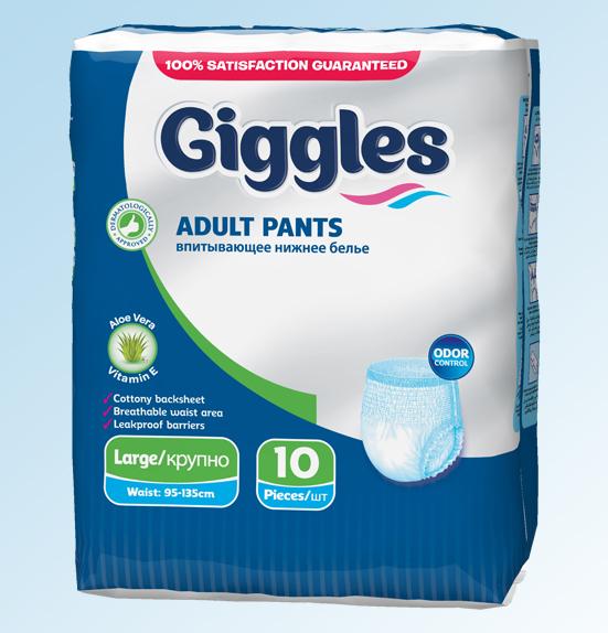 Подгузники для взрослых Giggles Adult Pant Medium 10 Pcs