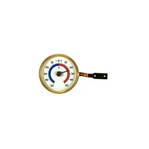 Термометр оконный пластиковый круглый, диаметр 70 мм, золото 102419