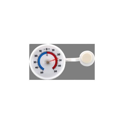 Термометр оконный пластиковый самоклеящийся круглый диаметром 70 мм белый 102463