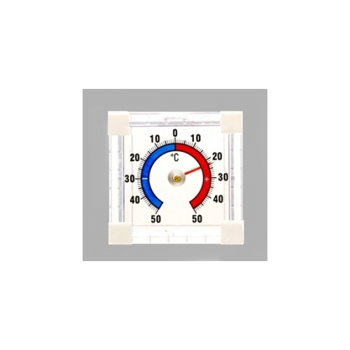 Пластиковый оконный термометр, 75x75 мм, прозрачный пластик 102401