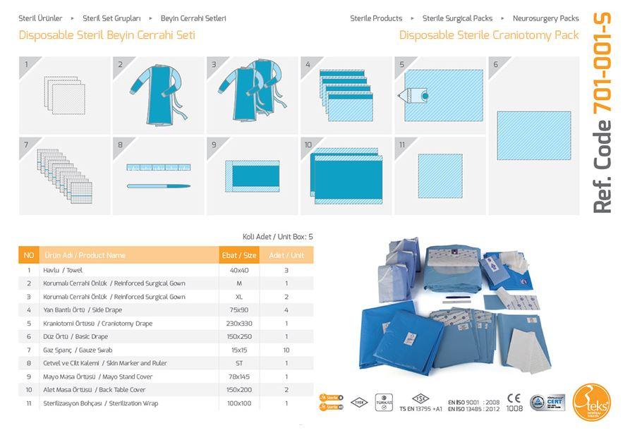 Пакет нейрохирургический Одноразовая стерильная краниотомическая упаковка