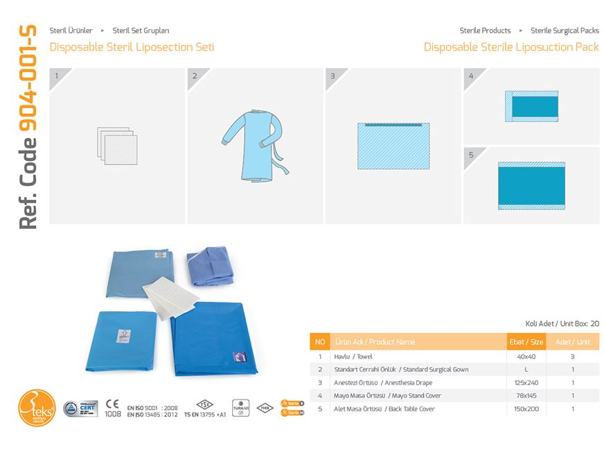 Одноразовый стерильный пакет для липосакций