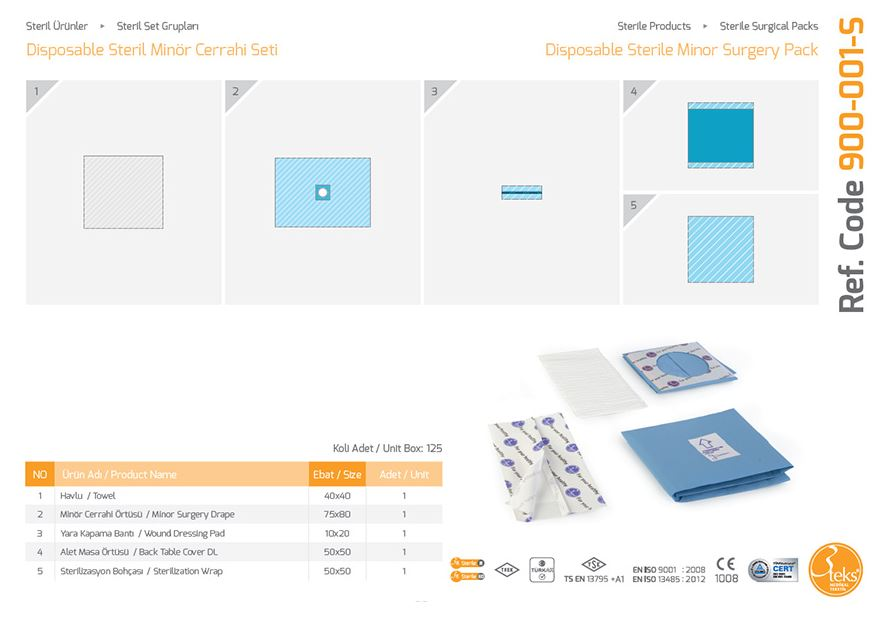 Одноразовый стерильный небольшой хирургический пакет