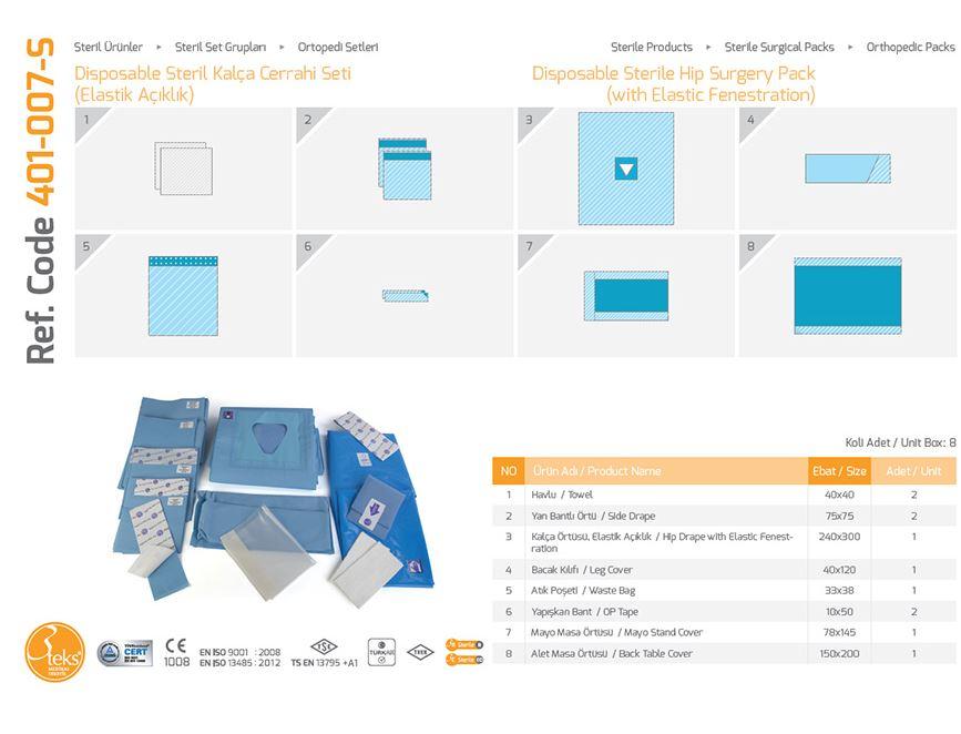 Одноразовый стерильный пакет для хирургии бедра (с эластичным уплотнением) 1