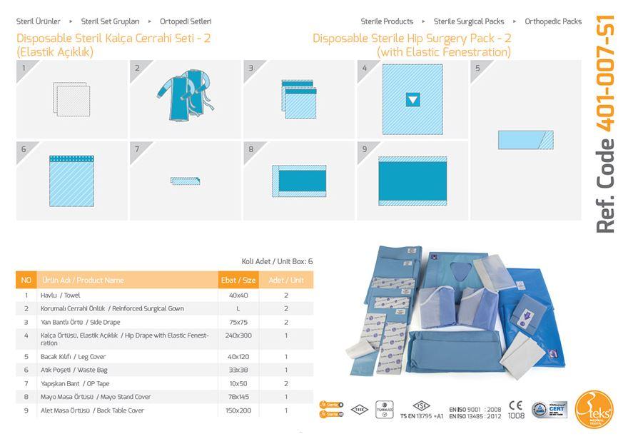 Одноразовый стерильный пакет Хирургической Хирургии - (с Эластическим Fenestration) 2