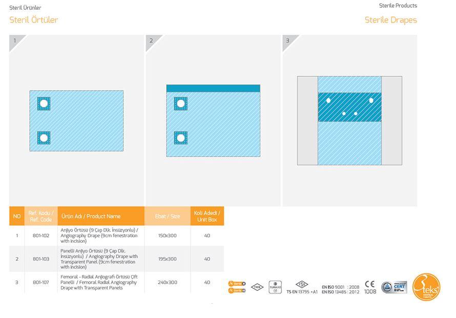 Стерильная драпировка Ангиография Перо с прозрачной панелью (просвет 9 см с надрезом)