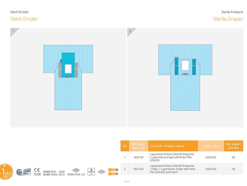Стерильная драпировка Лапаротомия Перо с выпуклой (25*30) и мешок
