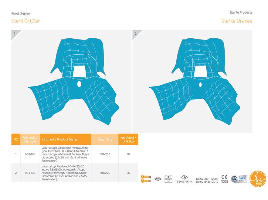 Стерильные драпировки Лапароскопическая пелвископия Абдоминальная чешуйка литотомическая (разрез 20х25 и просвет 7,5 х 15)