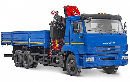 Бортовой автомобиль 6586-401-01 с кму fassi f 195 a.0.25 на шасси камаз-65117