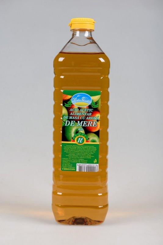 Уксус яблочный  4% 1 литр, Acid acetic alimentar de masa cu aroma de mere 4%  1.0 litru