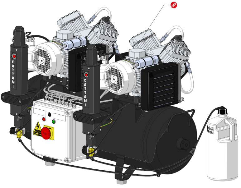 Компрессор стоматологический AC400 на 4 установки c осушителем (арт. 013430)