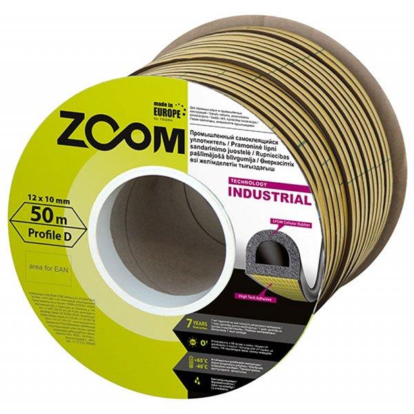Уплотнитель Zoom самоклеющийся Zoom Industrial D 12x10мм черный