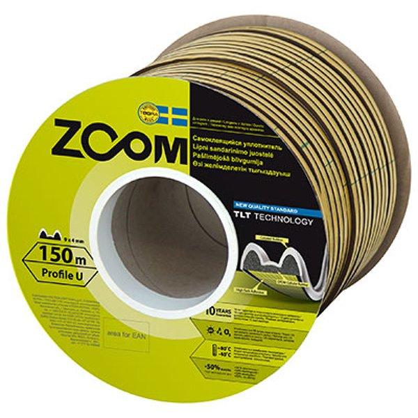 Уплотнитель Zoom самоклеющийся Zoom TLT U 9x4мм серый