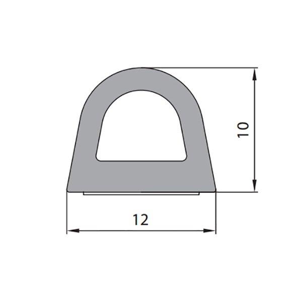 Купить Уплотнитель самоклеющийся D 12x10мм белый