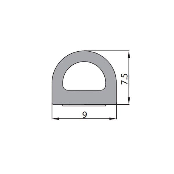 Купить Уплотнитель самоклеющийся D 9x7.5мм черный