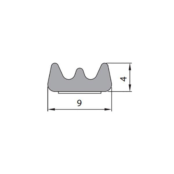 Купить Уплотнитель самоклеющийся E 9x4мм коричневый