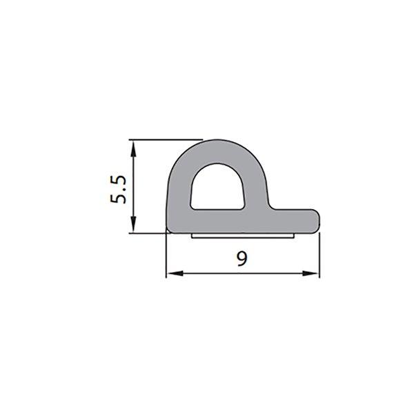 Купить Уплотнитель самоклеющийся P 9x5.5мм черный